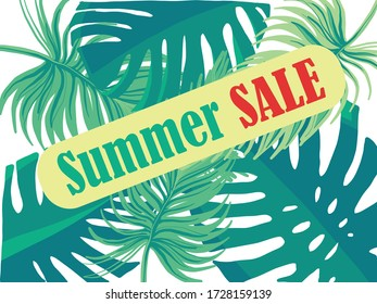 Vector illustration, poster, floral background, pattern suitable for posters about summer discounts. Background with tropical leaves. Summer fern pattern