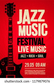Vector Illustration poster flyer design template for Rock Jazz festival live music event with guitar in retro style on red background
