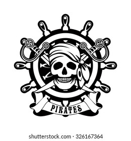 vector illustration poster with a human skull in a bandanna and earrings against a steering wheel in black and white