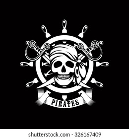 vector illustration poster with a human skull on a background of sea helm Jolly Roger emblem Black and white in color