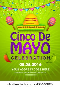 Vector illustration poster or party flyer of Cinco De Mayo with stylish typography celebration background.
