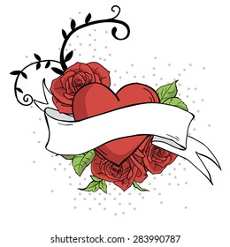 Vector illustration. Poster with ribbon, hearts, roses and leaves isolated on white background. Rockabilly style.