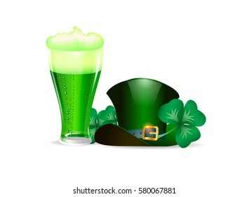 Vector illustration poster to Saint Patrick's day with mug of beer, clover leaves and green hat isolated.