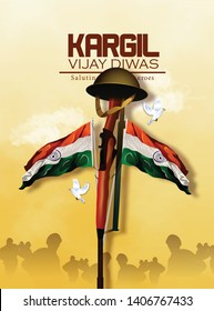 Vector illustration of Poster for salute indian army, amar jyoti, amar jawan - Vecto