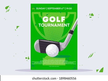 vector illustration of the poster template for a golf tournament