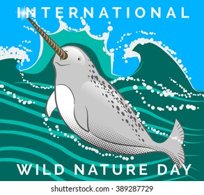 vector illustration poster to world nature day with splash, narwhal which swim in water north sea with text