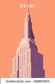 Vector illustration. Poster.Empire state building high-rise building, tourist attraction in the isometric perspective in New York. Cartoon style.