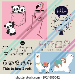 vector illustration for posters, cards, t-shirts. Cute sloth, panda, cat, flamingo, Llama