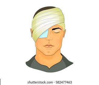vector illustration of a postoperative bandage on the eye