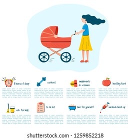 Vector illustration with postpartum recovery infographic. Cartoon trendy icon. Walking woman with stroller. Medical center booklet. Happy motherhood concept. Aviod depression problems and divorces