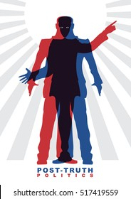 Vector illustration of Post-truth politics. Two male silhouettes in suits, who constitute the other silhouettes. Concept of social theme.