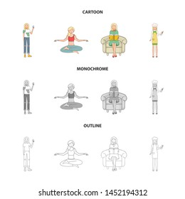 Vector illustration of posture and mood logo. Set of posture and female stock vector illustration.