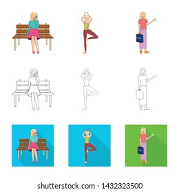 Vector illustration of posture and mood sign. Collection of posture and female stock vector illustration.