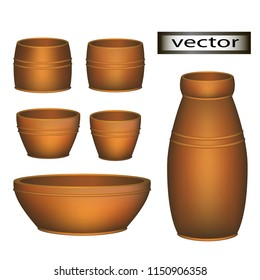 Vector illustration of pottery empty plate, mug, bowl and jug for retro rustic decor.