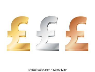 vector illustration of pound sign in gold, silver and bronze.EPS