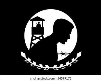 vector illustration of the POW MIA flag. This flag is in the public domain in the United States because it is a work of the United States Federal Government under the