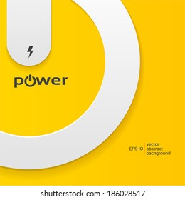 Vector illustration of power button on yellow background, design background