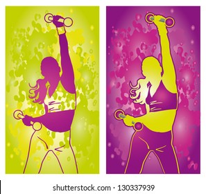 Vector illustration power pink and green silhouetts dancing women on abstract background