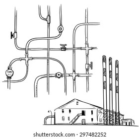 vector illustration. power  plant. Factory. Pipelines.