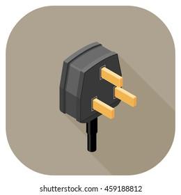A vector illustration of a Power Plug flat icon design. Plug Icon Concept. Three Pin Plug.