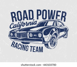 vector illustration of the power of the roads of California style racing team. vintage graphic design for t-shirts