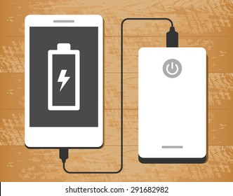 Vector illustration of a powerbank charging a smartphone on wooden desk