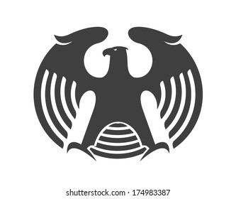 Vector illustration of a powerful eagle silhouette logo with round wings for mascot design