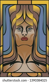 A vector illustration of a powerful stylized female face, in an Art Deco/Art Nouveau  mosaic style inspired by vintage stained glass artwork. Feminine strength personified.   11x17 aspect ratio.