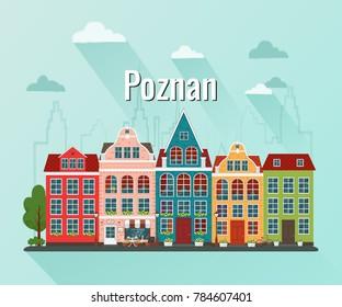 Vector illustration of Poznan. Old european city.