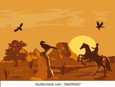 Vector illustration of prairie wild west with cacti and hero of the wild West