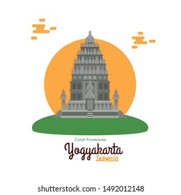 Vector illustration Prambanan temple Yogyakarta historical heritage of Indonesia