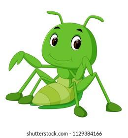 vector illustration of Praying mantis cartoon
