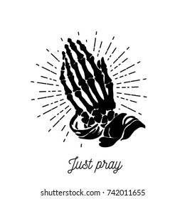 Vector illustration - Praying skeleton hands