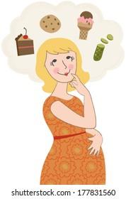 Vector Illustration of Pregnant Woman Craving Junk Food