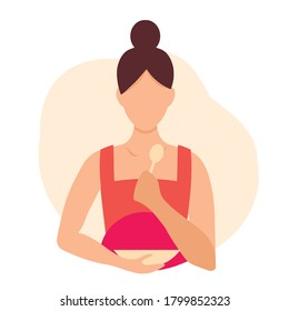 Vector illustration of a pregnant woman eating with a spoon and plate. Infographics illustration with pregnant woman. Information about good nutrition and healthy lifestyle for pregnant women.