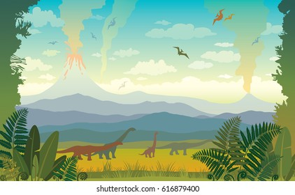 Vector illustration with prehistoric wildlife. Nature landscape with silhouette of dinos (pterodactyl and diplodocus), mountains, volcanos with lava and green grass with fern on a first plan.