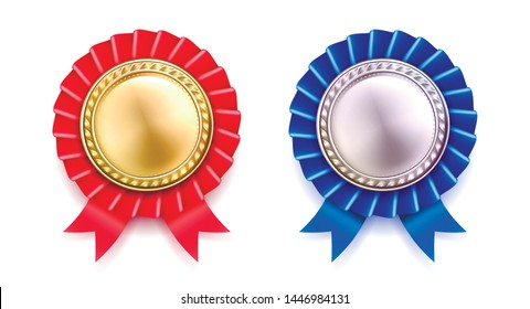 Vector illustration of premium blue and red award badges.