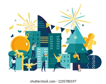 Vector illustration, preparation for the new year in the city, festive decoration of the atmosphere and fireworks, the main tree