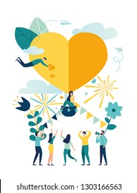 Vector illustration, preparation for Valentine's Day, teamwork, big airy heart, holiday love symbol - Vector