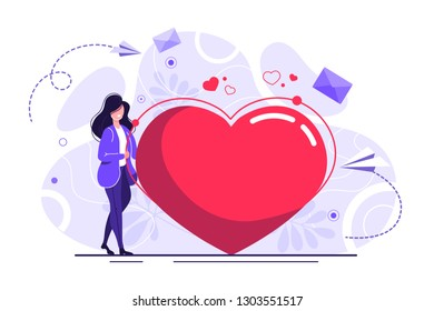 Vector illustration, preparation for Valentine's Day, big heart, love holiday symbol - Vector