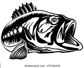 Vector illustration of prerch fish and fishing rod. Vector illustration can be used for creating logos and emblems for fishing clubs, prints, web and other crafts.
