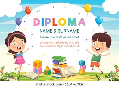 Vector Illustration Of Preschool Kids Diploma