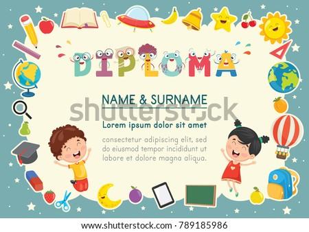 vector illustration preschool kids diploma のベクター画像素材