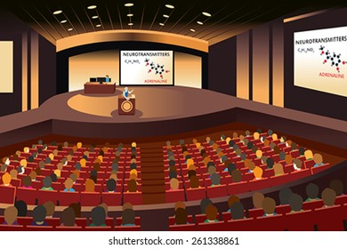 A vector illustration of a presentation in a conference in an auditorium