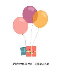 Vector illustration with presents and helium balloons