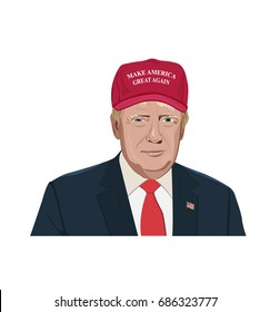 vector illustration of President Donald Trump in red hat