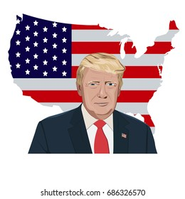 vector illustration of President Donald Trump