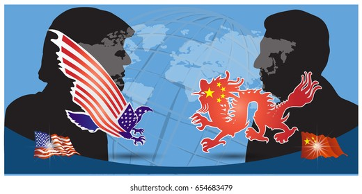 vector illustration of the President of the People's Republic of China Xi Jinping and and the President of the USA Donald Trump portraits. China and the USA relations.