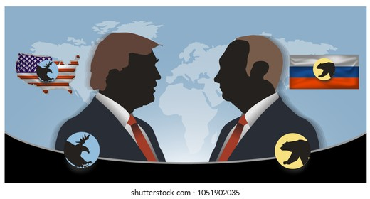 vector illustration of the  President of  Russian President Vladimir Putin and and the President of the USA Donald Trump portraits.  Russian   and the USA relations.