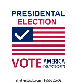 Vector illustration. Presidential Election 2020 in United States. Vote day, November 3 . Patriotic american element.  For poster, card, banner and background.